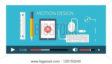 Motion design video play production. Motion and design, play video, movie film motion, production industry design motion, media multimedia, digital design motion, show motion design illustration