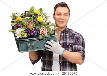 Man holding a crate of flowers isolated on white background