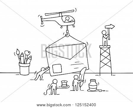 Sketch of working little people with letter teamwork. Doodle cute miniature scene of workers preparing for the sending letter. Hand drawn cartoon vector illustration for business design.