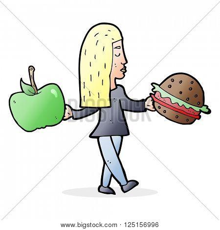 cartoon woman deciding to eat healthy
