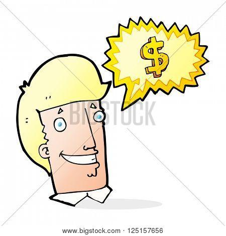 cartoon salesman talking money