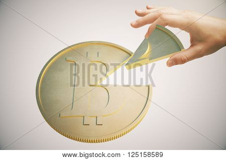 Shareholder concept with hand taking piece of bitcoin on light background. 3D Rendering