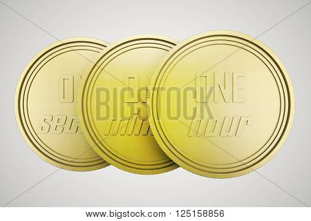 Time is money concept with three golden time coins isolated on light background. 3D Rendering