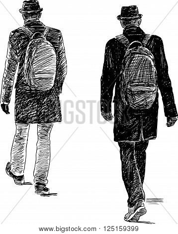Vector drawing of a casual walking person.