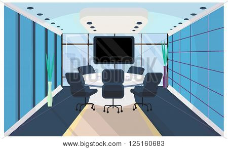 Office interior in flat style. Office room, boardroom. Meeting room with a conference table. Armchair and table, monitor. Business concept