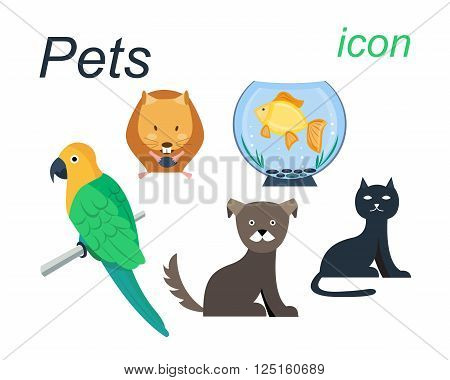 Flat vector icons of hamster, brawn dog, cat, Gold fish in the aquarium and parrot. Hamster eating a seed. Domestic animals. Budgerigar sitting on the branch