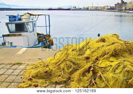 fishing nets at Kalamata port Peloponnese Greece