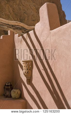Todgha Gorge inn detail. Beside the canyon in the eastern of High Atlas Mountains Morocco there are several nice hostels like this. poster