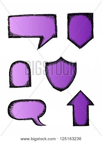 A collection of speech and thought communication bubbles. Colorful vector stock illustration