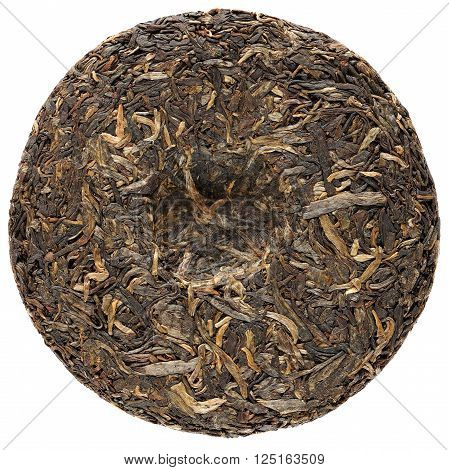 Raw sheng puerh Yunnan isolated overhead view