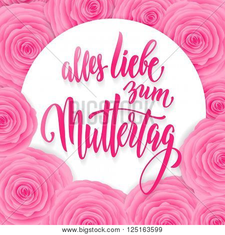 Muttertag Liebe vector greeting card. Pink red floral pattern background. Mother Day hand drawn calligraphy lettering German title.