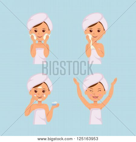 Isolated set of characters: Girl takes care of the skin. Washing, Treatment, Applying cream, Facial, Beauty, Cosmetic, Makeup.