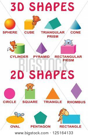Basic 3d and 2d shapes with cartoon animals for preschoolers vector