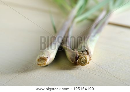 Lemon Grass Isolated On Wooden Board Background