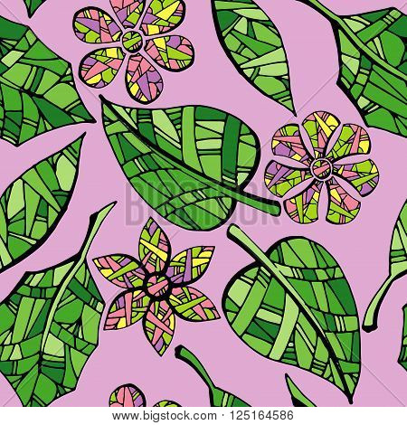 Collection of leaves and flowers. Colorful hand drawn vector stock illustration