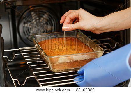 Cook Checks Readiness Cake