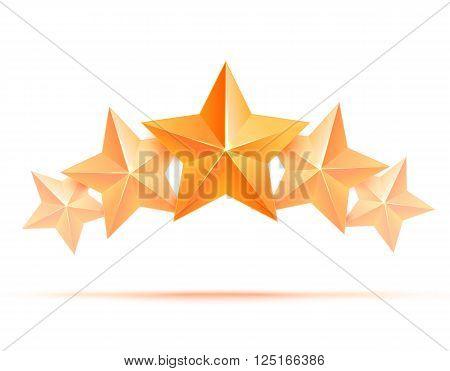 Realistic 3D gold star. Award winner. Five gold stars. Good job. Best reward. bulk copper star. Simple 5 star on a white background. The award for the best choice. Premium class. illustration