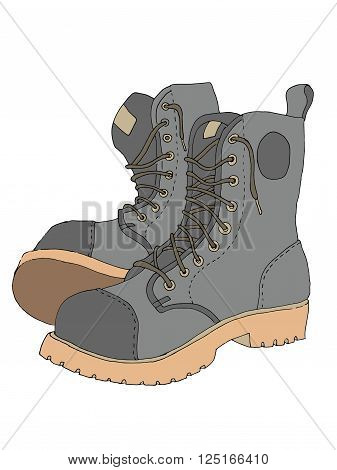 Boots icon illustration. Colorful hand drawn vector stock illustration