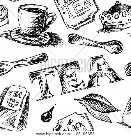 Black tea patter. Black and white hand drawn seamless background. Vector stock illustration