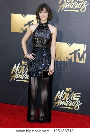 Lizzy Caplan at the 2016 MTV Movie Awards held at the Warner Bros. Studios in Burbank, USA on April 9, 2016.
