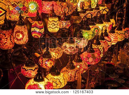 Plenty of decorative lamps displayed in the market.