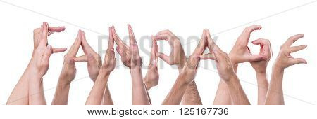 word fanpage builded with lot of hands isolated in front of white