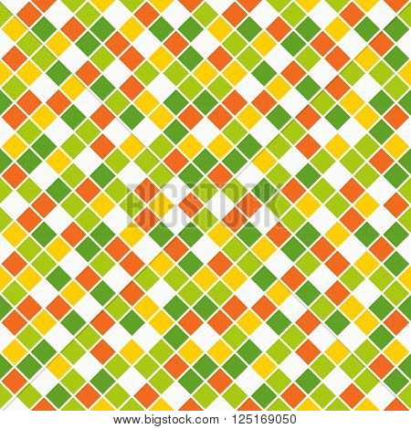Seamless pattern made of vivid spring color rhombuses with white lining poster