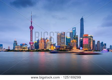 SHANGHAI, CHINA - JUNE 22, 2014: The Pundong Financial district at the Lujiazui Finance and Trade Zone.