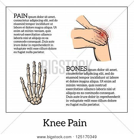Pain in the knee, about the legs and knee joint diseases, bone disease, girl holding hands knee, colored sketch illustration drawn by hand, infographics about bodily diseases of people, bone