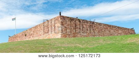 PORT ELIZABETH SOUTH AFRICA - FEBRUARY 27 2016: The historic old Fort Frederick is a stone fort built in 1799 by the British Forces to defend the mouth of the Baakens river