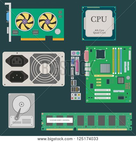 Parts of Computer. Video Card. CPU. HDD. RAM. Power Supply. Vector illustration