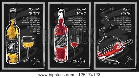Drink menu elements on chalkboard. Restaurant blackboard for drawing. Hand drawn chalkboard drink menu vector illustration. wine list drink menu board glass of the white wine and red wine