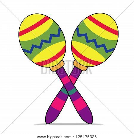 Maracas, musical instrument, maracas isolated. Cartoon style. Vector.