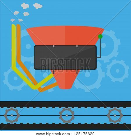 Flat design sales funnel concept. Flat design factory funnel concept.