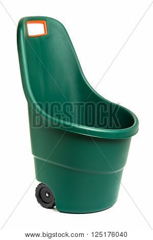 Modern easy go plastic gardening wheelbarrow - isolated on white and with clipping path