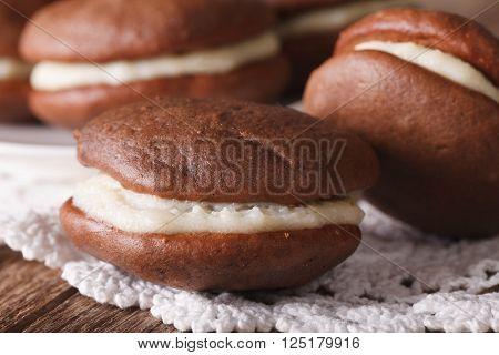 American Whoopie Pie Dessert Macro. Horizontal
