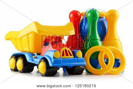 Colorful Plastic Children Toys Isolated On White Background