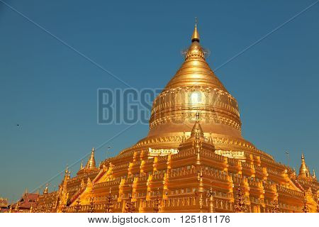 Shwezigon Pagoda is one of the biggest religious places in Bagan Myanmar (former Burma)