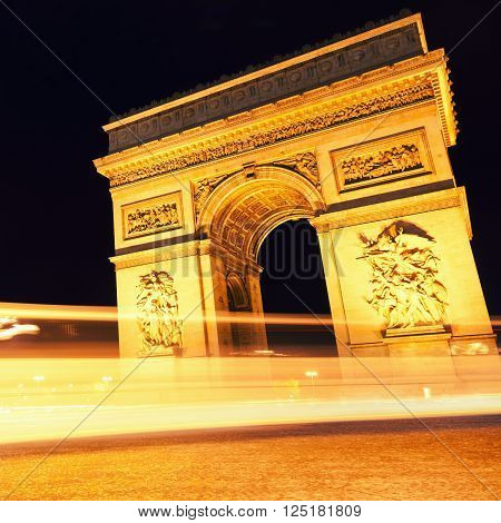 Arc de Triomphe by night Paris France