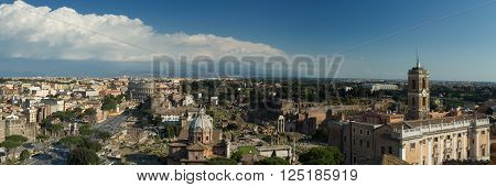 Panorama of Rome towards the Forum Romanum and he Capitoline hill Italy