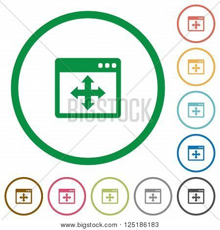 Set of Move window color round outlined flat icons on white background