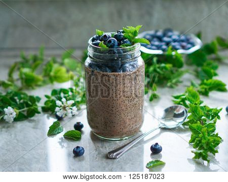 Vegan dessert, chia pudding with blueberries and mint