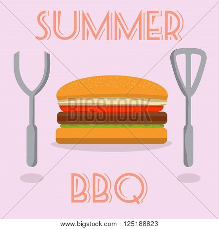 Summer BBQ burger with cutlery. vector illustration.