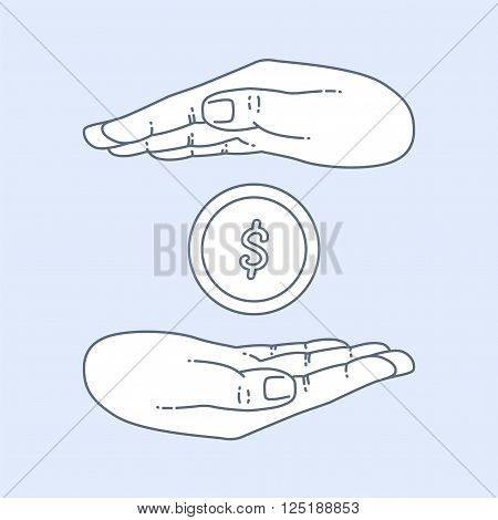 Vector flat style on background. Illustration of bank technology and services for presentation. Dollar gold coin in hand. Investment and exchange. Keeping the money in bank deposit account. Save cach.