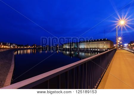 Regional Office and Odra river in Wroclaw Poland in the evening.