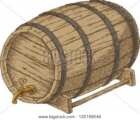 Wooden Oak Barrel with an Iron Rims. Isolated on a White Background