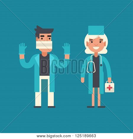 Medicine Concept. Doctor Surgeon Emergency Physician. Male and Female Cartoon Characters. Flat Design Vector Illustration poster