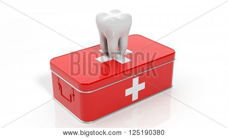3D rendering of tooth and first aid kit, isolated on white background.