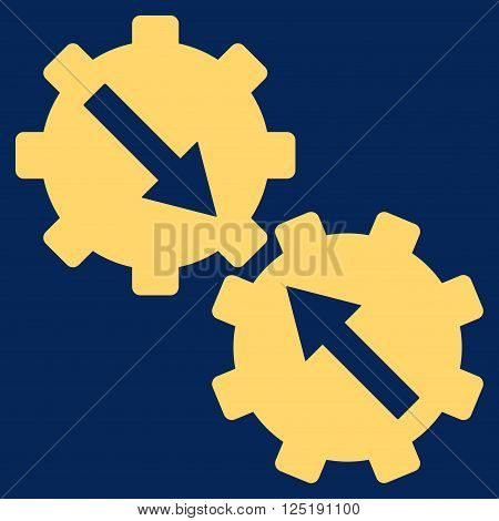 Gear Integration vector icon. Gear Integration icon symbol. Gear Integration icon image. Gear Integration icon picture. Gear Integration pictogram. Flat yellow gear integration icon.