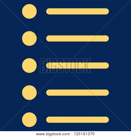Items vector icon. Items icon symbol. Items icon image. Items icon picture. Items pictogram. Flat yellow items icon. Isolated items icon graphic. Items icon illustration.